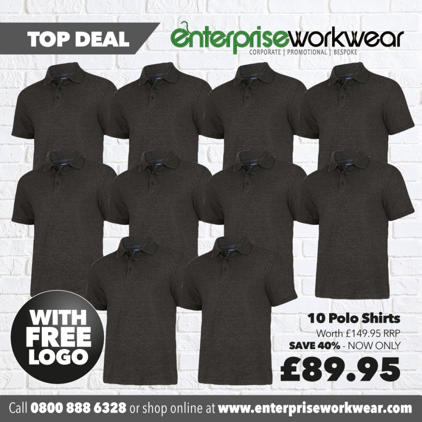 10 x Polo Shirts with FREE PRINTED LOGO TO LEFT BREAST