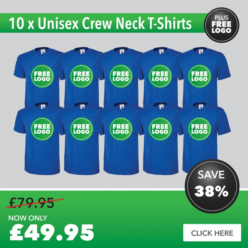 10 x T-Shirts with FREE PRINTED LOGO TO LEFT BREAST
