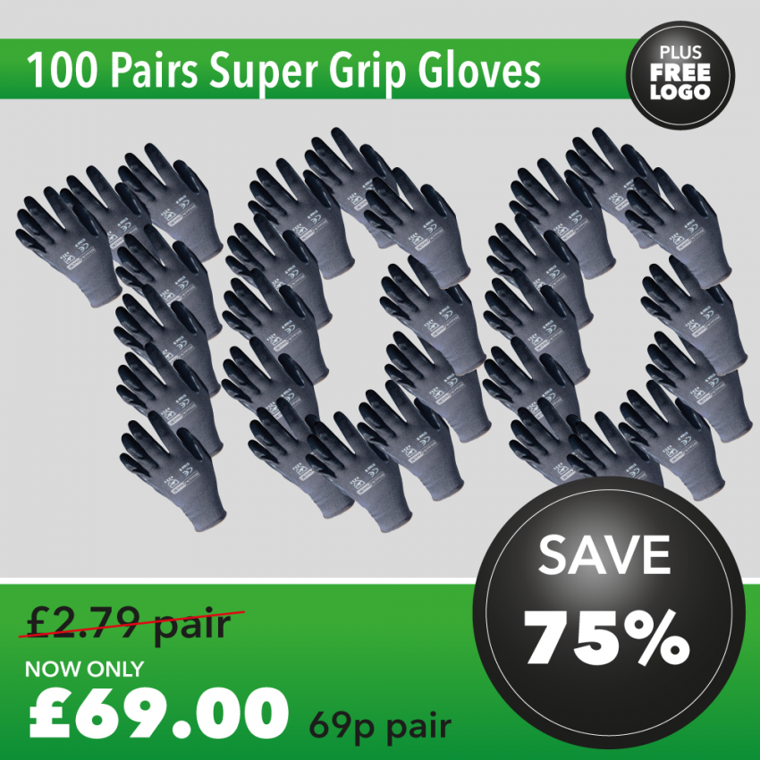 100 Pairs of Super Grip Gloves DEAL