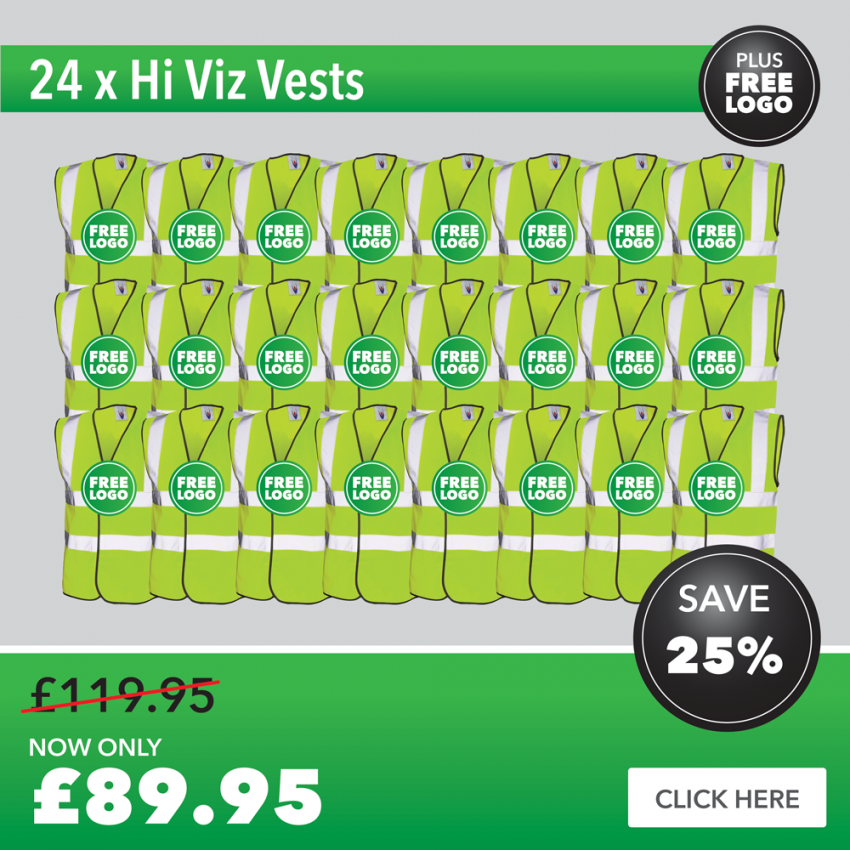 24 x Hi Viz Vests with FREE PRINTED LOGO TO LEFT BREAST