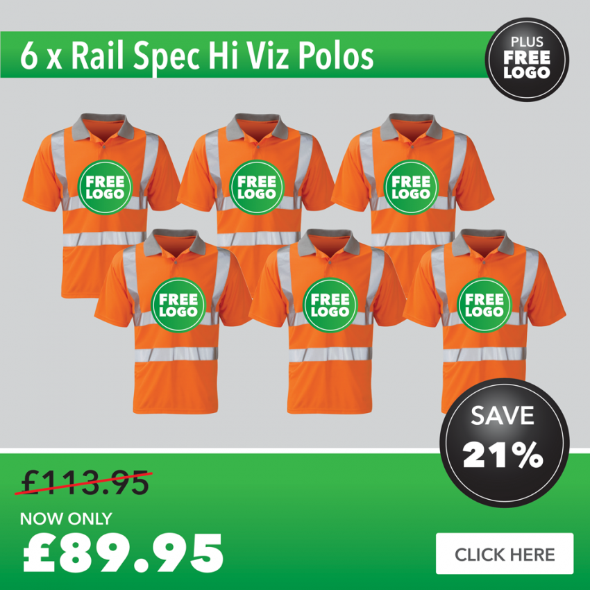 6 x Rail Spec Hi Vis Polo Shirt with FREE PRINTED LOGO TO LEFT BREAST