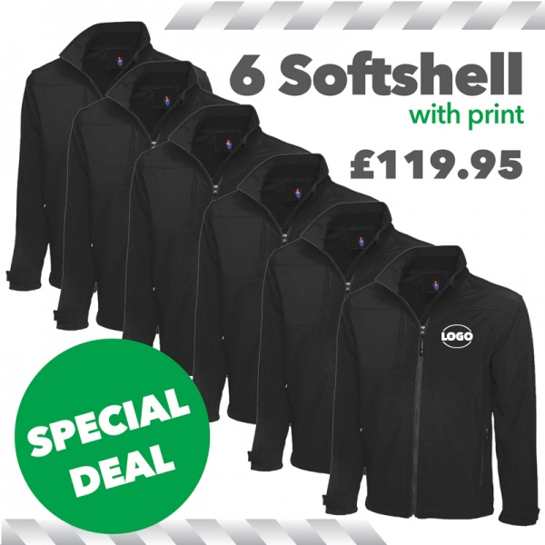 6 x Softshell Jackets with print