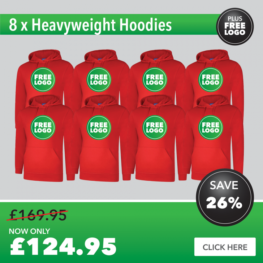 8 x Hoodies with FREE PRINTED LOGO TO LEFT BREAST