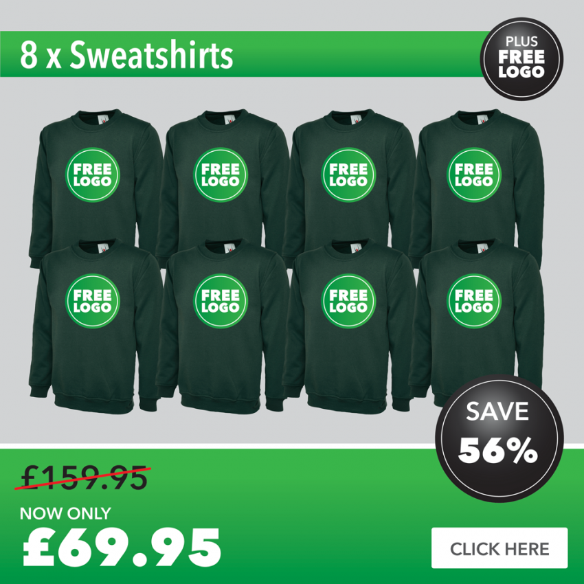 8 x Sweatshirts with FREE PRINTED LOGO TO LEFT BREAST
