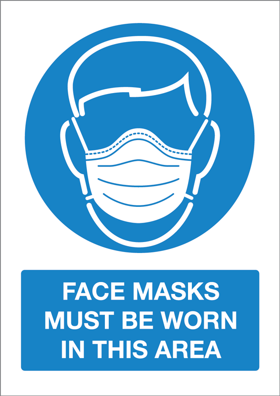 A5 Face Mask Self Adhesive Notice - 5 Pack