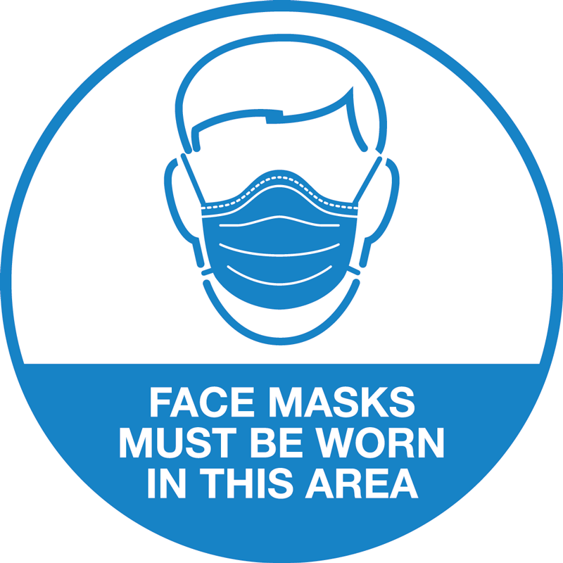 Face Mask Sticker - 100mm Round - 5 Pack
