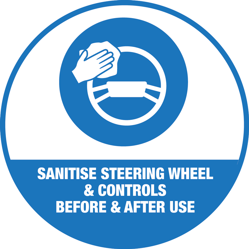 Forklift/Tractor/Van Sanitise Controls Sticker 100mm Round - 10 Pack