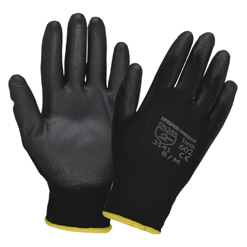480 Pairs of black PU coated grip gloves