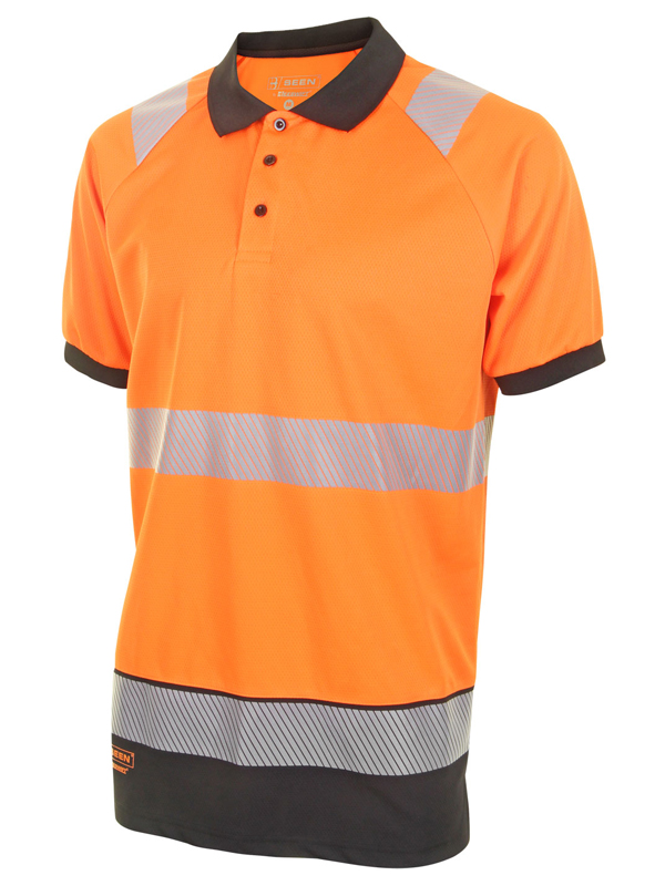 HIVIS Two Tone Polo Shirt ORANGE / BLACK
