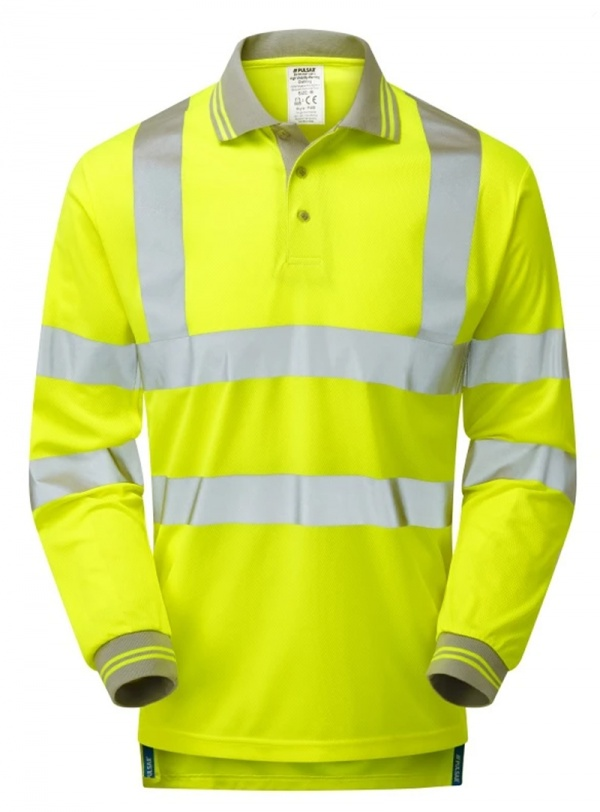 Pulsar P458 Hi Vis Long Sleeve Rail Spec Polo - Yellow