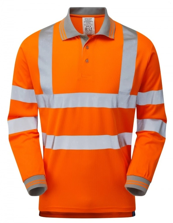 Pulsar P470 Hi Vis Long Sleeve rail spec Polo - Orange