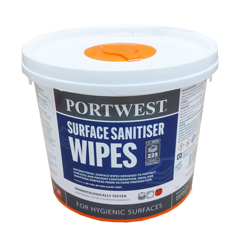 WIW50 Surface Sanitiser Wipes (225 Wipes) White