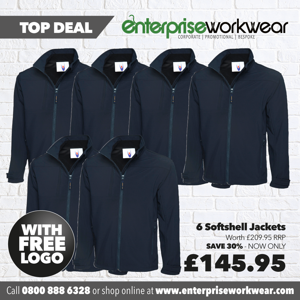 6 x Softshell Jackets with FREE PRINTED LOGO TO LEFT BREAST
