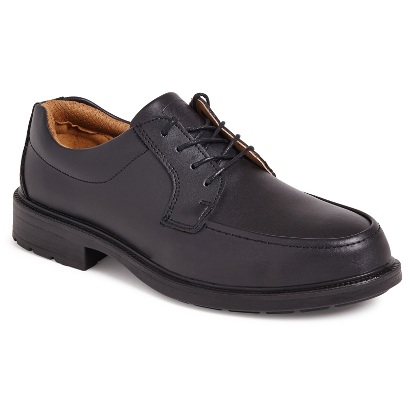 CITY KNIGHTS SS502CM Black Plain Front Tie Safety Shoe.