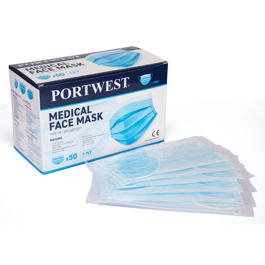 Medical Mask Type IIR Blue (Box of 50 - Individually Wrapped)