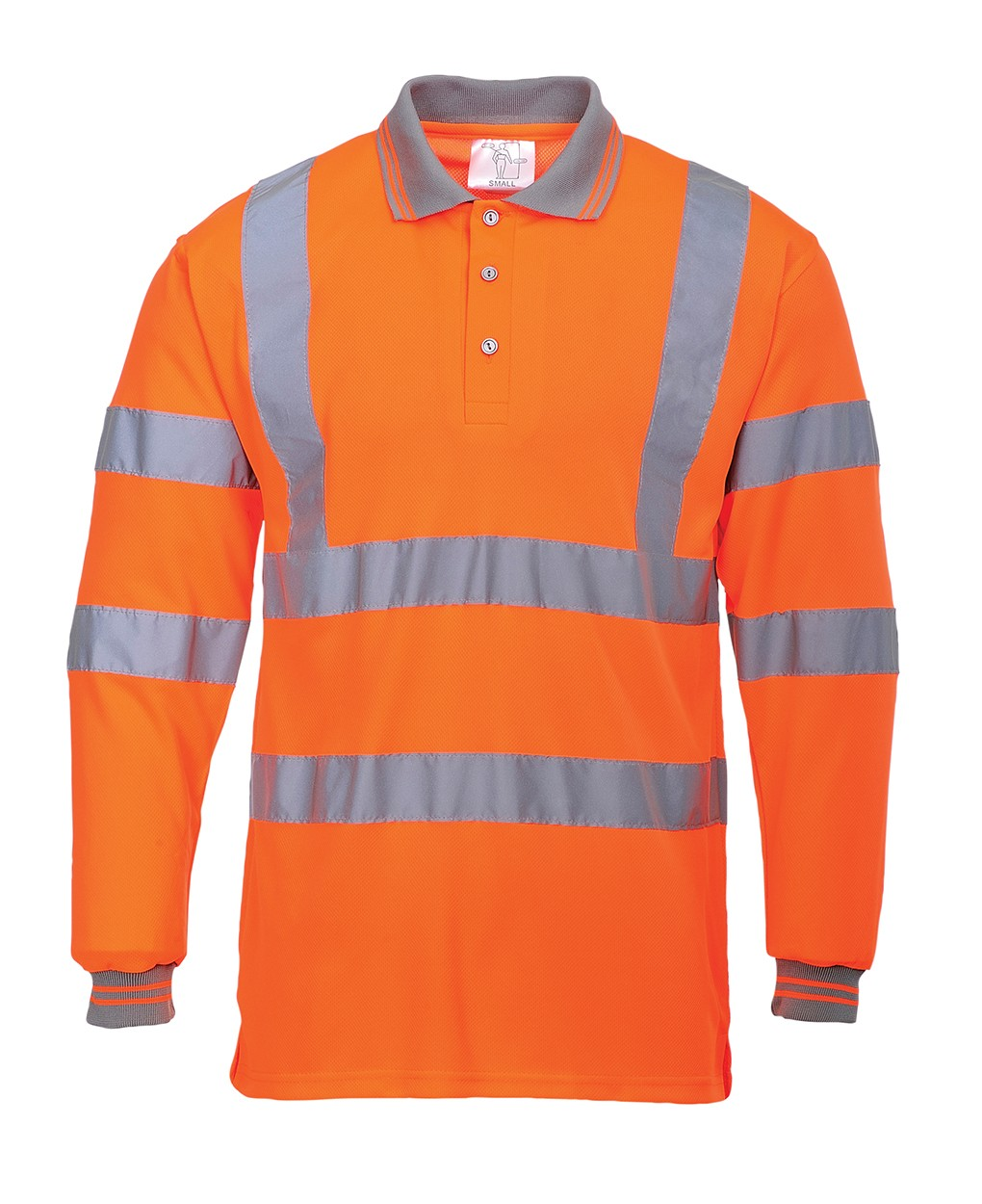 Long Sleeve Hi Vis Polo Shirt Orange