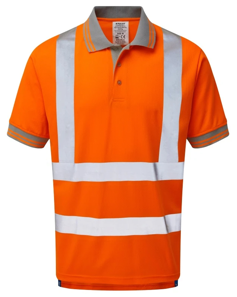 Pulsar P176 Hi Vis Short Sleeve rail spec Polo - Orange
