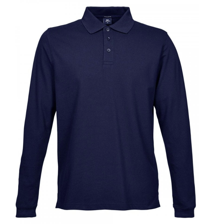 1406 Men's Luxury Long Sleeve Stretch Polo