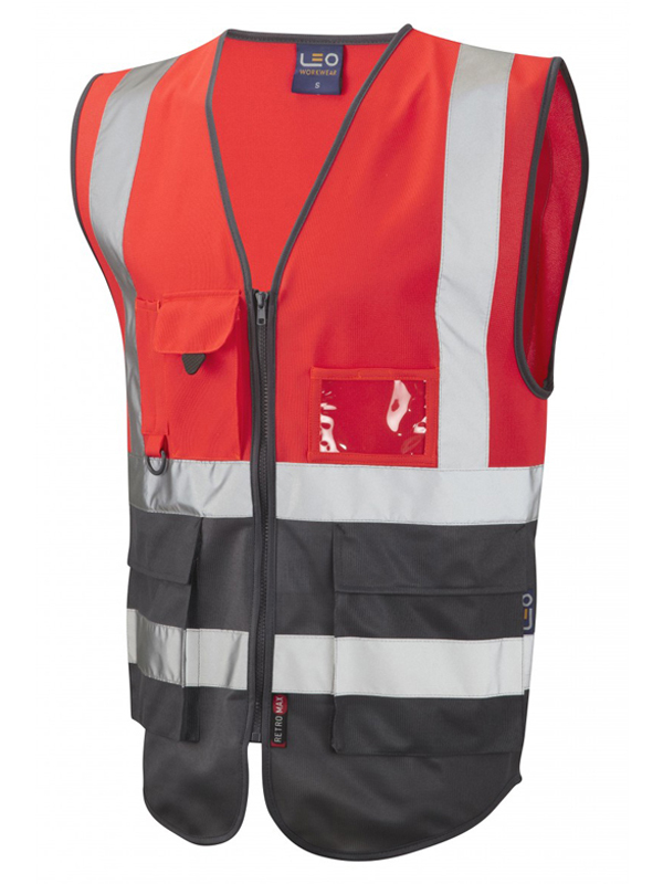 LYNTON ISO 20471 Class 2* Vest - Red-Grey